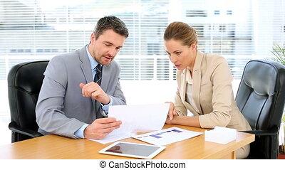 documents, équipe, regarder, business