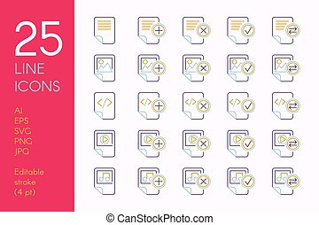 Documents and files color linear icons set