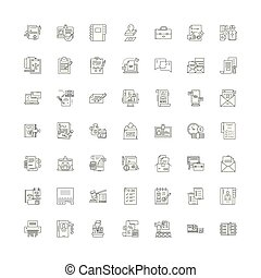 Documents and files linear icons, signs, symbols vector line illustration set