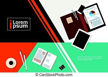 documents, angle, tablette, business, espace, sommet, informatique, lieu travail, bureau, copie, bannière, vue