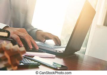 documents, bureau, tablette, ordinateur portable, business,...