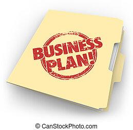 documents, business, compagnie, démarrage, stratégie, plan, chemise carton bulle, vision