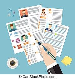 documents., conceito, cv, foto, retomar