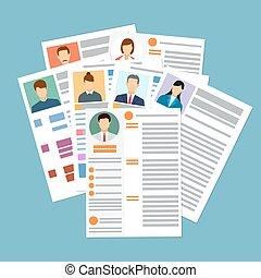 documents., concept, cv, foto, hervatten