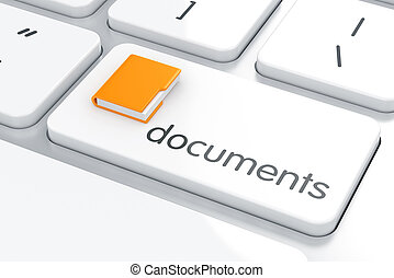 Documents concept - 3d render of folder on the computer...