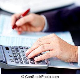 documents., corporación mercantil de mujer, trabajando