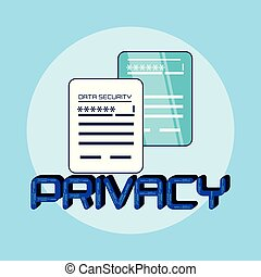 documents data privacy icon vector illustration design