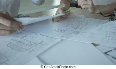 documents, employés bureau, closeup, mains, indoors., vue