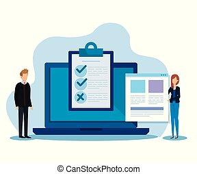 documents, femme affaires, liste, informatique, homme affaires, chèque