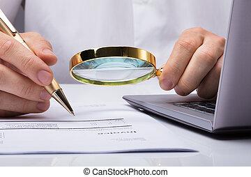 documents, financier, auditeur, inspection