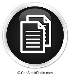 Documents icon black glossy round button