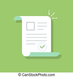 Documents icon. Confirmed or approved document. Flat illustration isolated on color background.