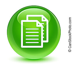 Documents icon glassy green round button
