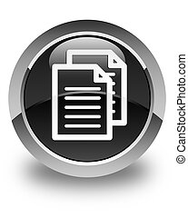 Documents icon glossy black round button