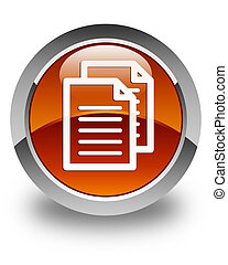 Documents icon glossy brown round button