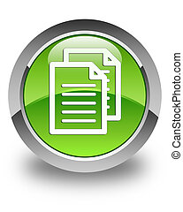 Documents icon glossy green round button