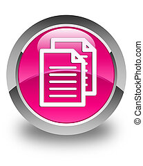 Documents icon glossy pink round button