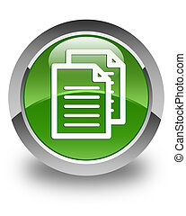Documents icon glossy soft green round button