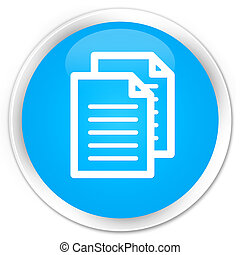 Documents icon premium cyan blue round button