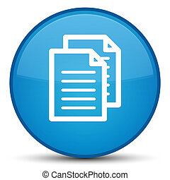 Documents icon special cyan blue round button