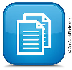 Documents icon special cyan blue square button