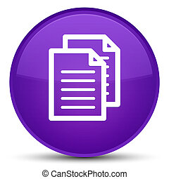 Documents icon special purple round button