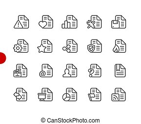 Documents Icons - Set 2 of 2 // Red Point Series