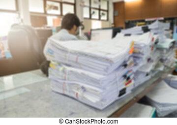 documents, inachevé, fonctionnement, image, brouillé, tas, bureau, homme affaires, bureau