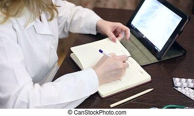 documents, informatique, tablette, fonctionnement, docteur