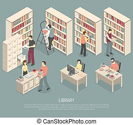 Documents Library Archive Interior Isometric Illustration -...
