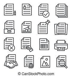 Documents line icons set on white background