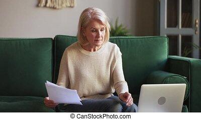 documents, mûrir, calculer, ordinateur portable, tenue femme, sérieux, utilisation, factures