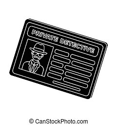 Documents of a private detective. Card that shows the personality of the detective. Detective single icon in blake style vector symbol stock illustration.