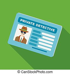 Documents of a private detective. Card that shows the personality of the detective. Detective single icon in flat style vector symbol stock illustration.