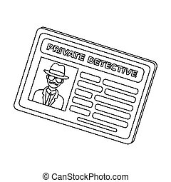 Documents of a private detective. Card that shows the personality of the detective. Detective single icon in outline style vector symbol stock illustration.