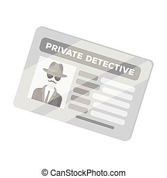 Documents of a private detective. Card that shows the personality of the detective. Detective single icon in monochrome style vector symbol stock illustration.