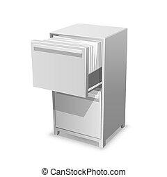 Documents open office box. Closet safe with documents. Vector Illustration