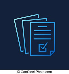 Documents or Business report vector blue line icon