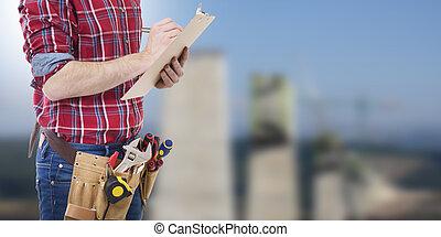 documents, ouvrier, écriture, construction, architecte, ou