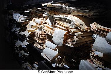 documents, papier, empilé, archive