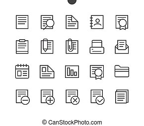 Documents Pixel Outlined Perfect Well-crafted Vector Thin Line Icons 48x48 Ready for 24x24 Grid for Web Graphics and Apps with Editable Stroke. Simple Minimal Pictogram