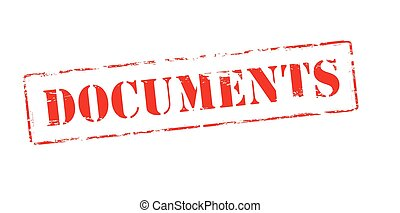 Rubber stamp with word documents inside, vector illustration