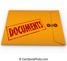 Documents stamped onto a confidential yellow envelope containing important papers, records, historical information, proof or evidence on crucial matters