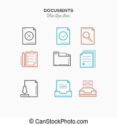 Documents sings set thin line color icons set, vector illustration