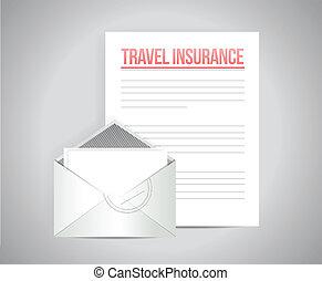 documents voyage, conception, assurance, illustration