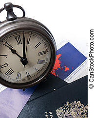 documents voyage, passeport, horloge