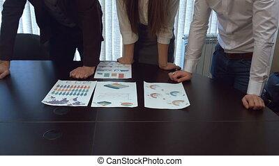 documents., werken, financieel, handen