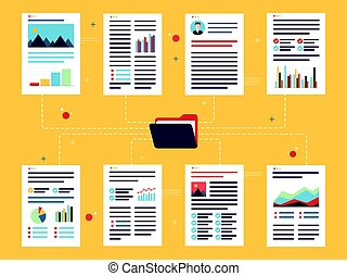 Documents with data, charts and folder.