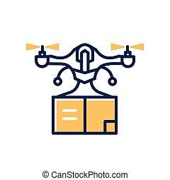dodávka, bzučet, -, moderní, vektor, řádka, design, svobodný, icon.