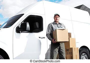 dodávka, poštovní úřady, man.